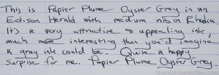 Papier Plume Oyster Grey writing sample