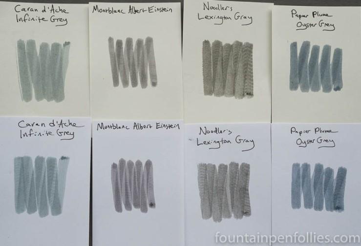 Papier Plume Oyster Grey swabs comparison