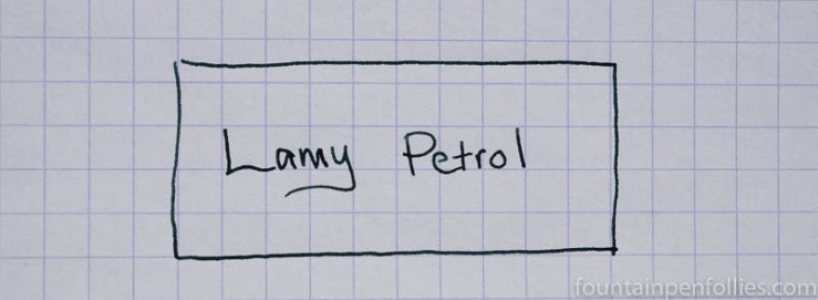 Lamy Petrol ink writing sample