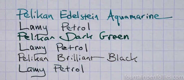 Lamy Petrol ink comparisons
