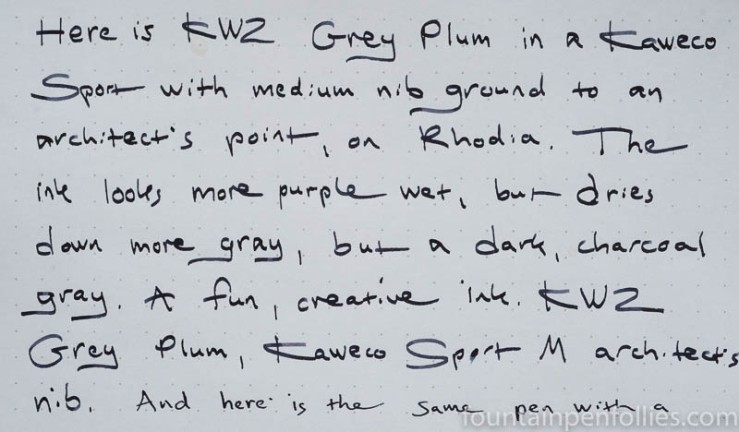 KWZ Grey Plum writing sample