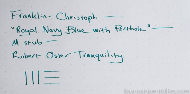 Robert Oster Tranquility writing sample