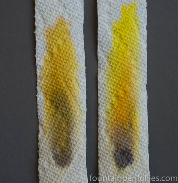 KWZ Iron Gall Aztec Gold and KWZ Old Gold paper towel chromatography