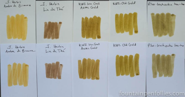 KWZ Old Gold and KWZ Iron Gall Aztec Gold ink swab comparisons