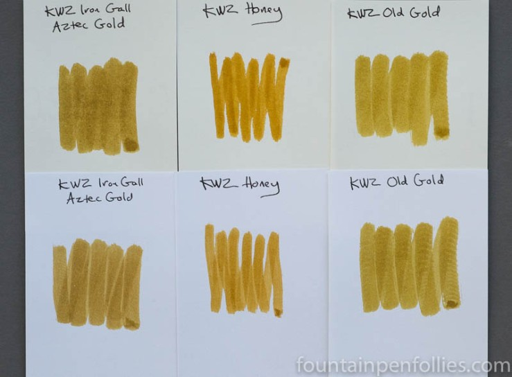KWZ Old Gold KWZ Honey KWZ Iron Gall Aztec Gold ink swabs