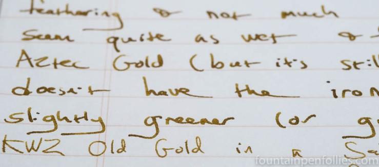 KWZ Old Gold writing sample