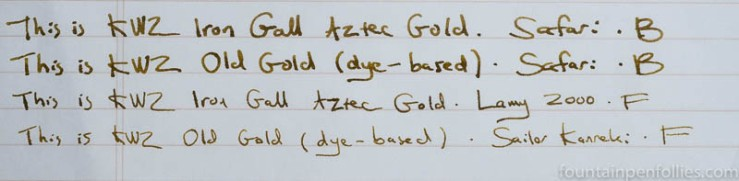 KWZ Iron Gall Aztec Gold and KWZ Old Gold comparisons