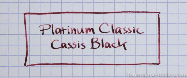 Platinum Classic Cassis Black ink writing sample