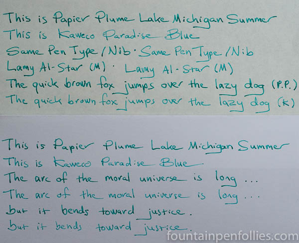 Papier Plume Lake Michigan Summer and Kaweco Paradise Blue writing samples comparison