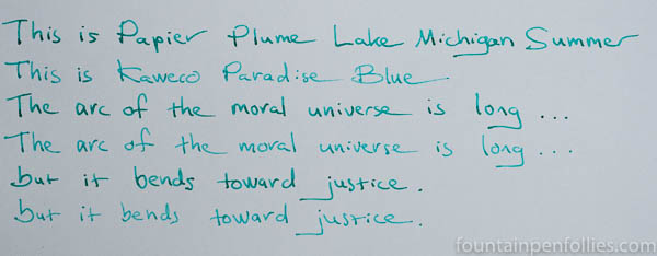 Papier Plume Lake Michigan Summer and Kaweco Paradise Blue writing samples comparison