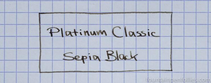 Platinum Classic Sepia Black writing sample
