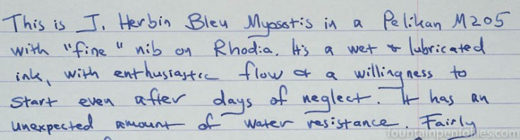 J. Herbin Blue Myosotis writing sample