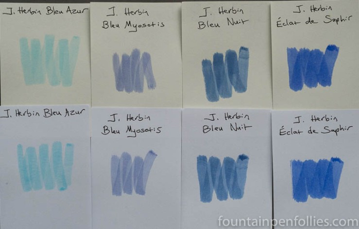 J. Herbin Blue Myosotis swabs comparison
