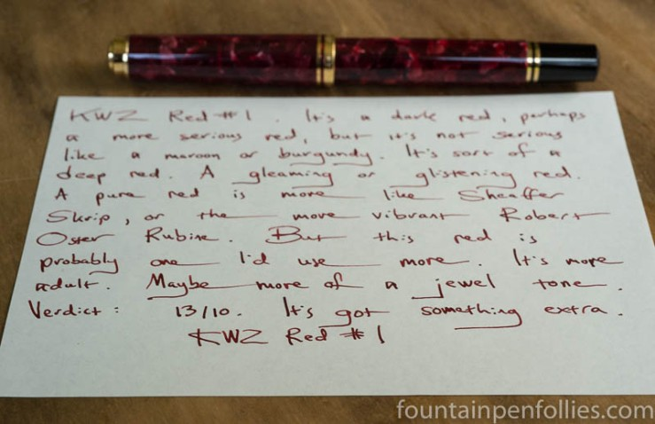 KWZ Red #1 writing sample