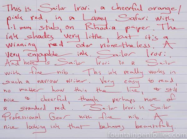 Sailor Irori writing sample