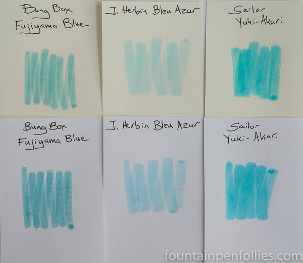 Sailor Yuki-Akari ink swab comparisons