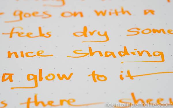 Montblanc Golden Yellow ink writing sample