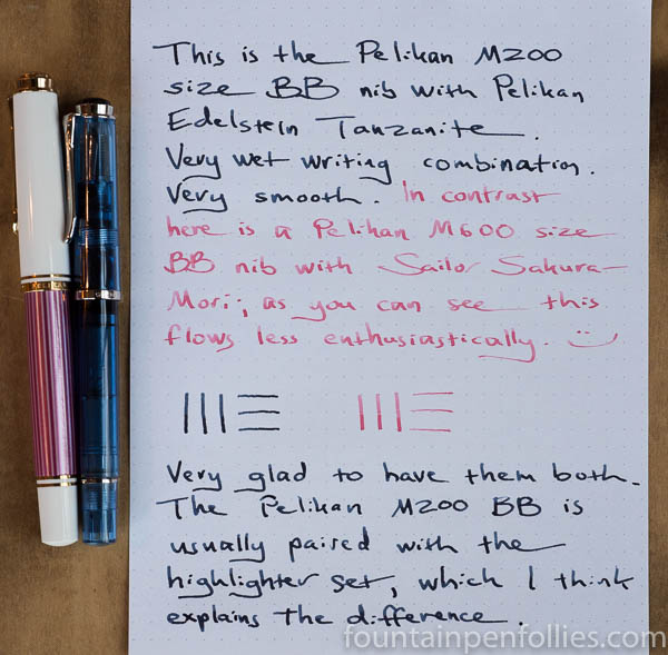 writing sample Pelikan M600 BB versus M205 BB highlighter