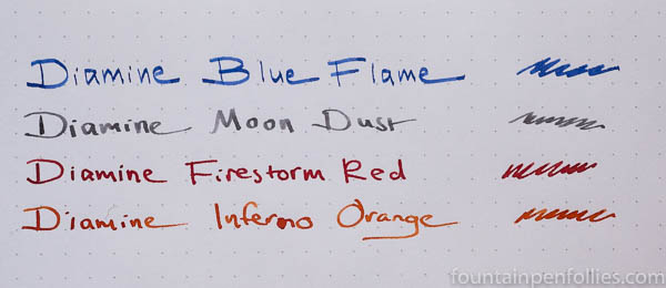 Diamine Shimmering Inks writing sample
