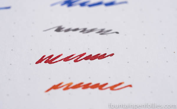 Diamine Firestorm Red writing sample
