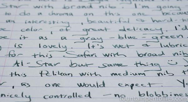 Papier Plume Bayou Nightfall writing sample