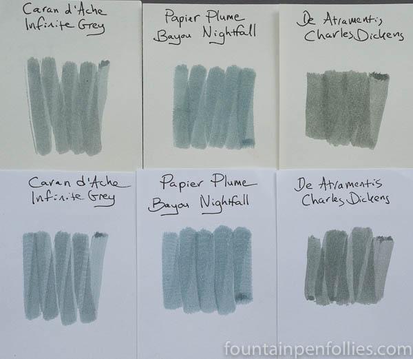 Papier Plume Bayou Nightfall swab comparison