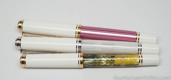 Pelikan M605 White Transparent, M605 Pink and M405 White Tortoise