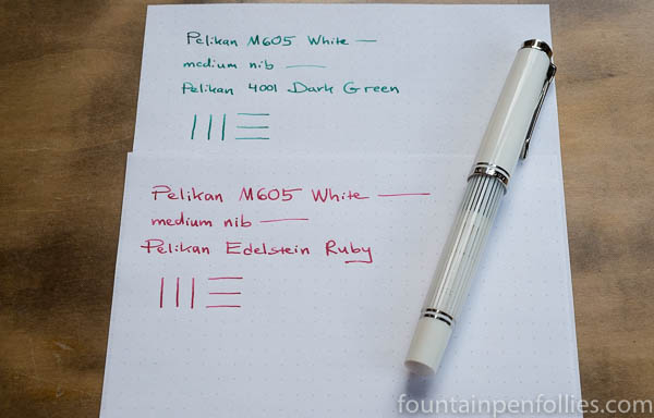 Pelikan M605 White Transparent with Pelikan 4001 Dark Green & Pelikan Edelstein Ruby