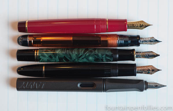 Pilot Custom 74 Orange pen size comparison