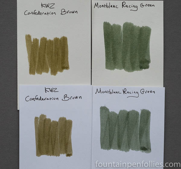KWZ Confederation Brown Montblanc Racing Green swabs comparison