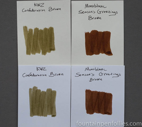 KWZ Confederation Brown Montblanc Seasons Greetings swabs comparison