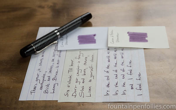 Caran d'Ache Ultra Violet writing samples