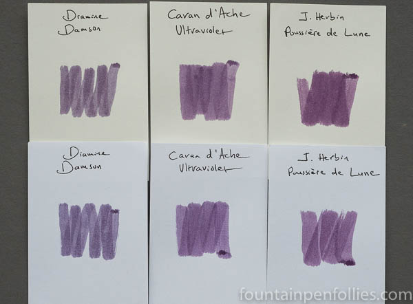 Caran d'Ache Ultra Violet swab comparisons