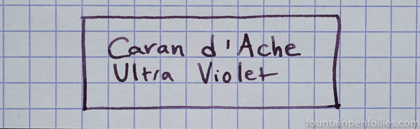 Caran d'Ache Ultra Violet writing sample