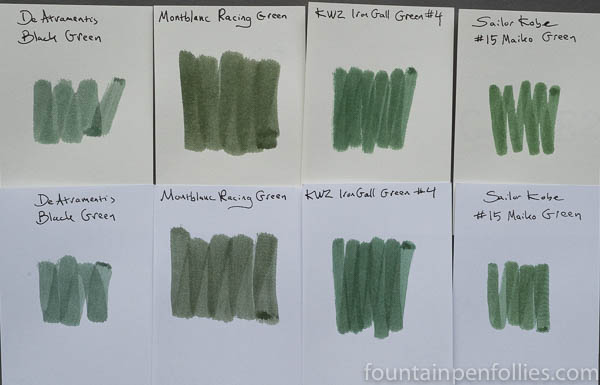 Montblanc Racing Green swab comparisons
