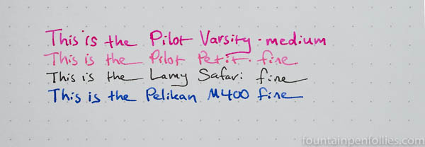 Pilot Petit 1 fountain pen writing samples