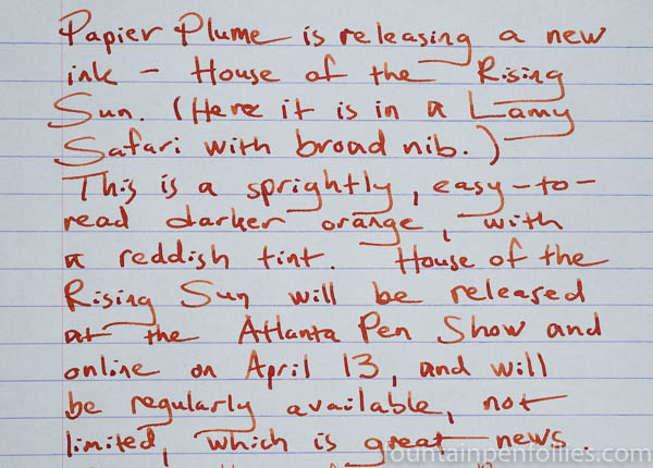 Papier Plume House of the Rising Sun writing sample