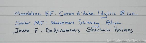 Sailor medium-fine MF nib writing sample