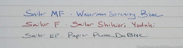 Sailor medium-fine MF nib writing sample