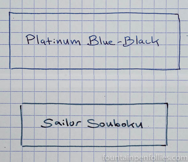 Sailor Souboku and Platinum Blue-Black writing sample