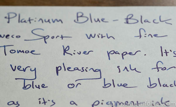 Platinum Blue-Black writing sample