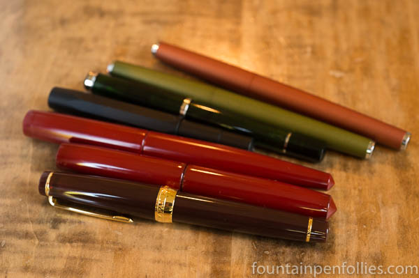 Pelikan M205 Olivine, Lamy Studio Olive and Terracotta, Kaweco AL-Sport Night, Sailor Earth, Nakaya Shu