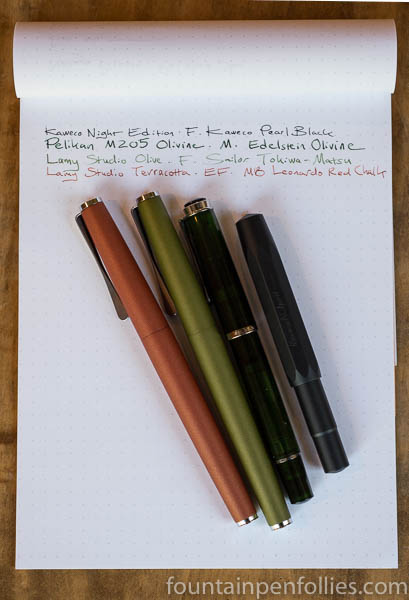 Pelikan M205 Olivine, Lamy Studio Olive and Terracotta, Kaweco AL-Sport Night