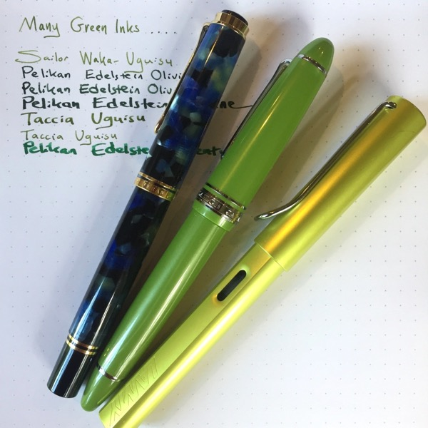 Sailor 1911L Key Lime with comparison pens