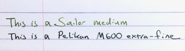 Pelikan extra-fine nib writing comparison