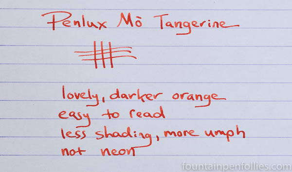 Penlux Mo Tangerine writing sample